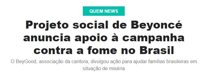 Revista Quem – Projeto social de Beyoncé anuncia apoio à campanha contra a fome no Brasil