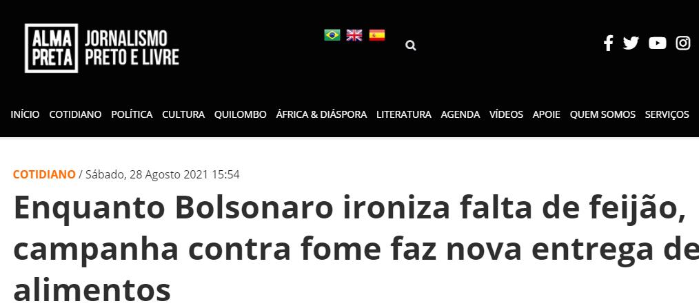 Alma Preta Jornalismo – Enquanto Bolsonaro ironiza falta de feijão, campanha contra fome faz nova entrega de alimentos