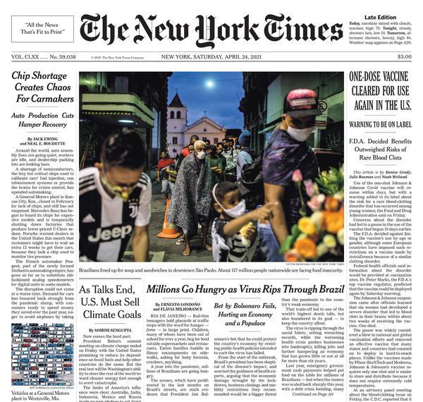 New York Times – Brasil, devastado por la covid, enfrenta una epidemia de hambre